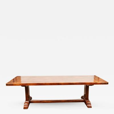 20th Century French Walnut Trestle Dining Table