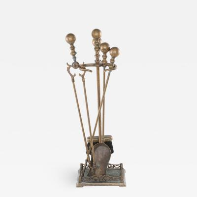 20th Century Italian Five Piece Fireplace Tool Set