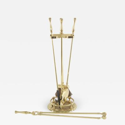 20th Century Italian Solid Brass Fireplace Tool Set 5 Pieces