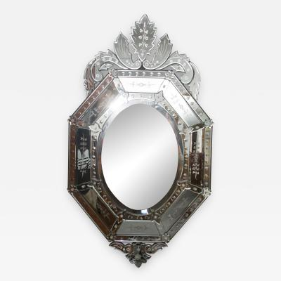 20th Century Octagonal Etched Venetian Mirror