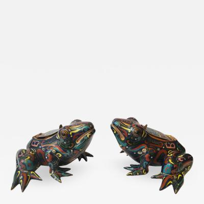 20th Century Pair of Cloisonn Frog Sculptures and Candleholders