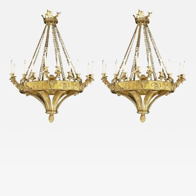 20th Century Pair of Gilt Bronze Chandeliers in the Gothic Revival Manner