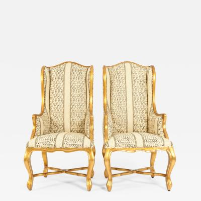 20th Century Pair of Giltwood Frame Bergeres Chairs Side Armchairs