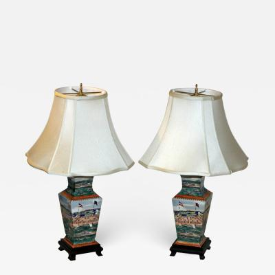 20th Century Porcelain Chinese Export Hong Table Lamp Pair