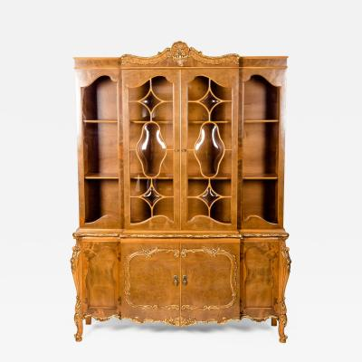 20th Century Two Parts Burlwood Hutch or China Cabinet
