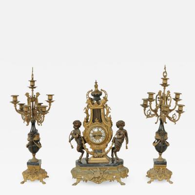 20th Century Two Tone Bronze Three Piece Garniture Set