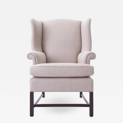 20th Century Wingback Chair Reupholstered in Natural Linen