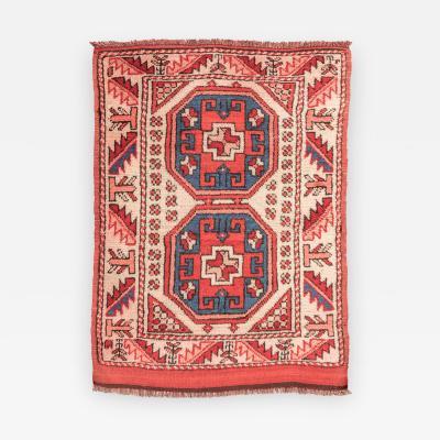 20th Century Wool Rug Caucasian Melas Geometric Design circa 1940