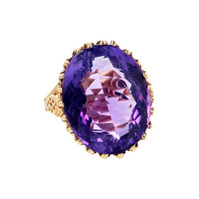 21 78 Carat Sparkling Amethyst Gold Ring
