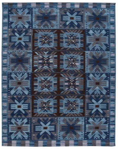 21st Century Blue Modern Swedish Style Wool Rug