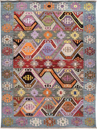 21st Century Modern Turkish Kilim Wool Rug 10 x 13