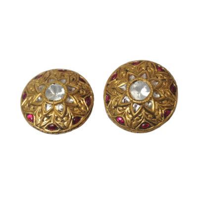 22 Karat Gold Rosecut Diamond Cabochon Ruby Earrings circa 1960s