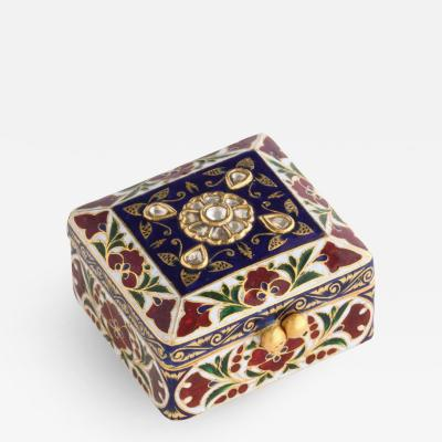 22 Karat Jaipur Indian Gold Enamel and Diamonds Pill Snuff Box