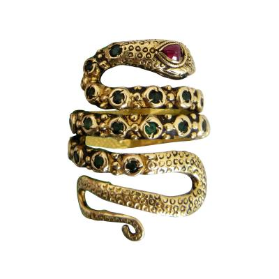 22k Gold Snake Ring with Ruby and Emeralds