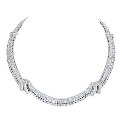 23 CARAT BAGUTTE AND ROUND DIAMOND PLATINUM COLLAR BRIDAL NECKLACE