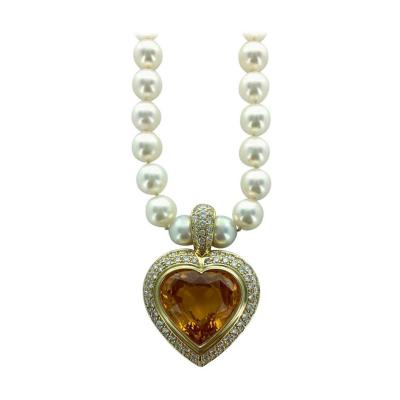 24 39 Carat Yellow Sapphire Heart Shape Diamond Gold Pearl Pendant Necklace