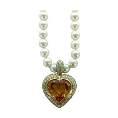 24 39 Carat Yellow Sapphire Heart Shape Diamond Gold Pearl Pendant Necklace