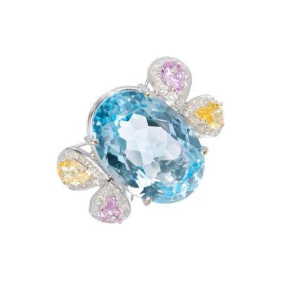 25 00 Carat Topaz Sapphire Diamond Gold Ring