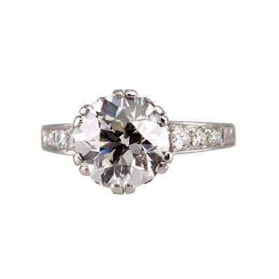 3 13CT Old European Cut Diamond Ring