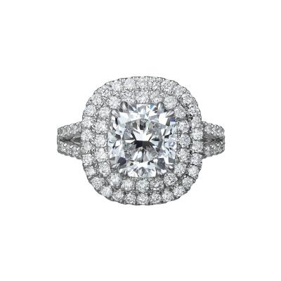 3 25 Carat Cushion Cut Diamond Halo Ring GIA Certified E VS1
