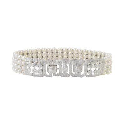 3 50 CTW Diamond and Four Strand Pearl Bracelet