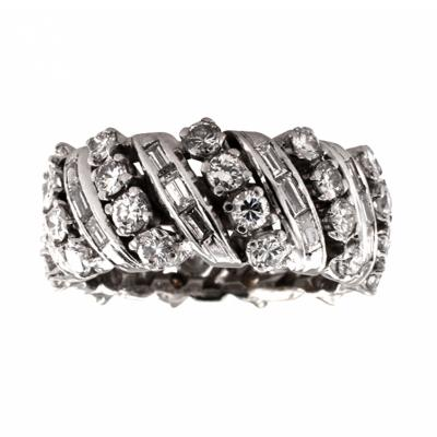 3 50 Carats Round and Baguette Diamond Band