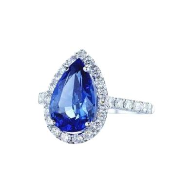 3 53 Carat Pear Shape Blue Sapphire and Diamond Ring