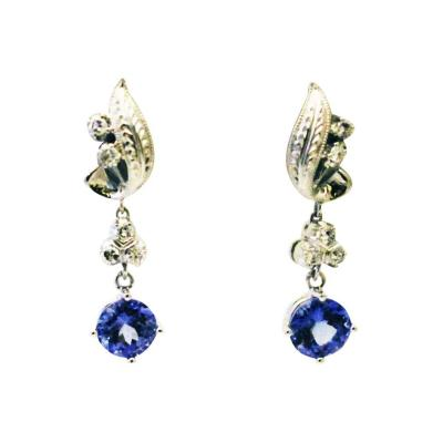 3 5CT Natural Tanzanite and Diamonds Vintage Earrings in 14KT White Gold
