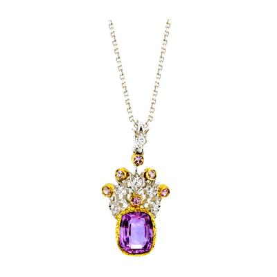 3 63 Carat Lavender Sapphire Pendant with Diamonds in 18 Karat Gold