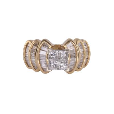 3 70 CTW Diamond Yellow Gold Ring