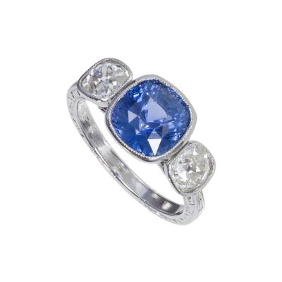 3 90 cts Art Deco Natural Violet Blue Sapphire Diamond Platinum Engagement Ring