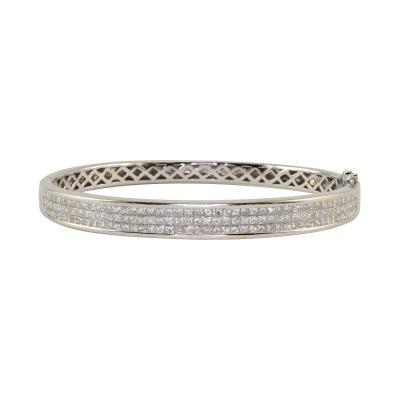 3 95 CTW Princess Cut Diamond 18K White Gold Bangle Bracelet