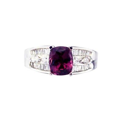 3 CT Amazing Natural Pink Spinel and Diamond Ring in 14KT White Gold