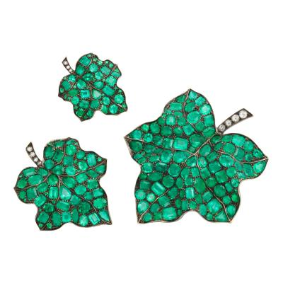 3 Emerald Diamond Leaf Brooches