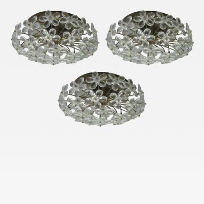 3 Italian Mid Century Modern Murano Glass Crystal Floral Flush Mount Fixtures