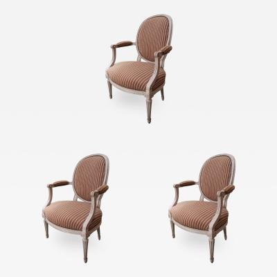 3 Signed Louis XVI Chairs France XVIIIth Century