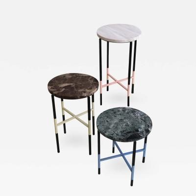 3 Small Side Tables with Marble Tops
