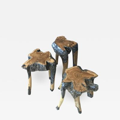 3 Wood Stools Side End Tables