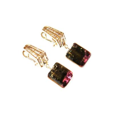 30CT Natural Watermelon Tourmaline with Diamonds Earrings 14KT Gold