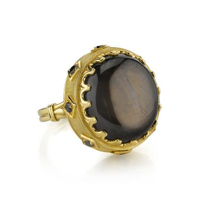 34 70 Carat Oval Black Star Sapphire and Black Diamonds 18k Yellow Gold Ring