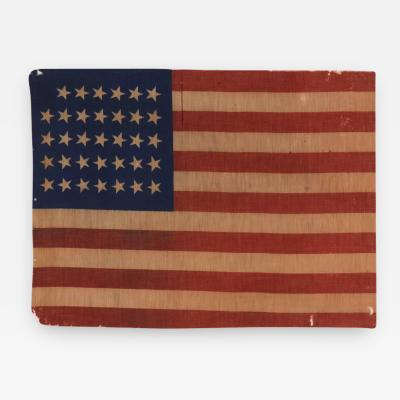34 Star Antique American Flag Civil War Period Possibly a US Army Camp Colors