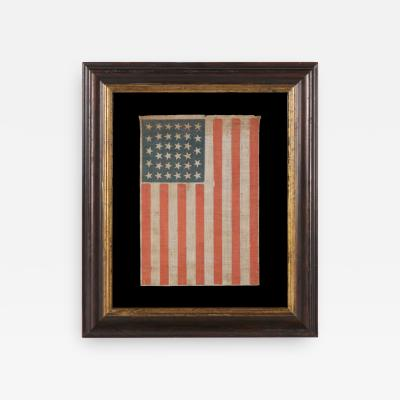 34 Stars In A Lineal Arrangement on a Antique American Parade Flag
