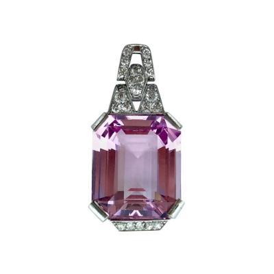 35 72 Carat Natural Morganite Art Deco Diamond Platinum Pendant