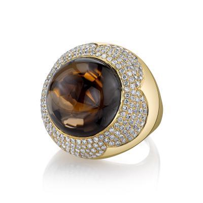 37 87 Carat Round Smoky Quartz and Diamond 18k Yellow Gold Ring