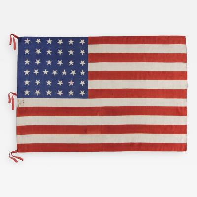 37 Stars On A Large Silk Parade Flag Hand Inscribed