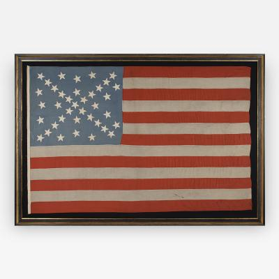 38 Stars in a Starburst Cross on an Antique American Flag Colorado Statehood