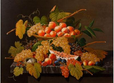 Severin Roesen Still Life with Fruit and a Birds Nest c 1871