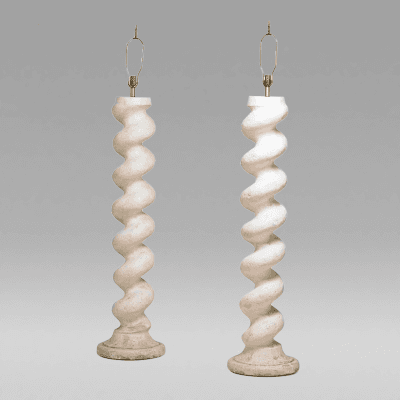 Michael Taylor Pair of Plaster Floor Lamps USA c 1970 s