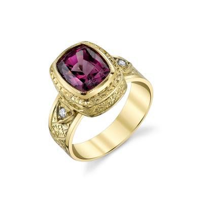 4 30 Carat Rhodolite Garnet and Diamond 18 Karat Yellow Gold Ring