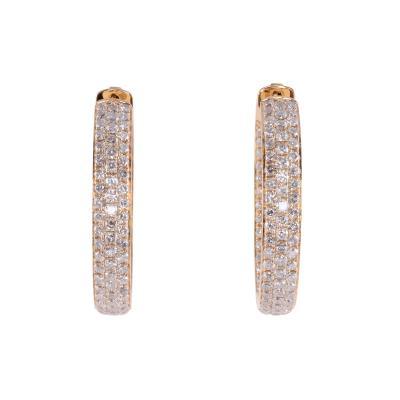 4 37 CTW Diamond Inside Out Huggie 18K Earrings
